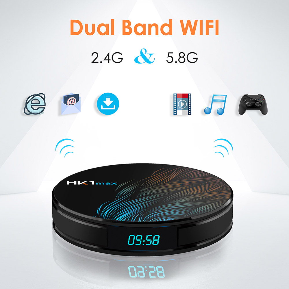HK1MAX TV Box Android 10 Smart TV Box 4GB RAM 64GB Rockchip3318 4K Google Play Store YouTube 4GB RAM 32GB Dual Band WiFi Bluetooth 4.0 - Black 2+16GB EU Plug