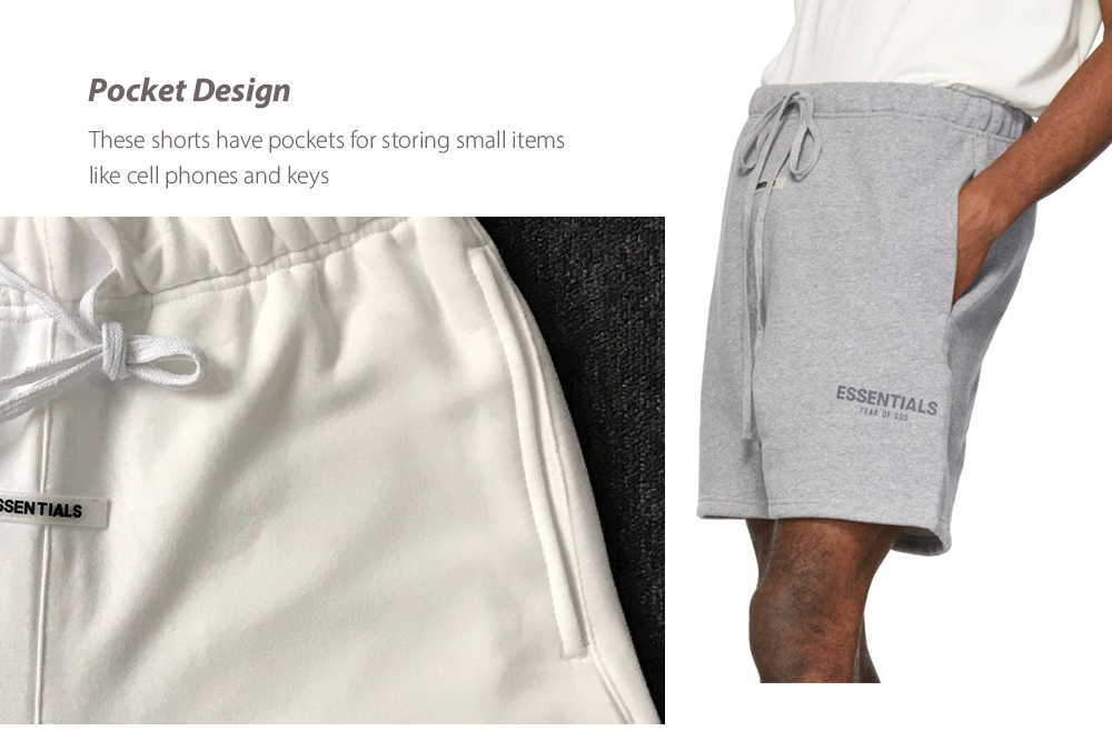FOG Complex Essentials High Street Couple Reflective FG Trend Loose Shorts Casual Pants Five Pants - White S