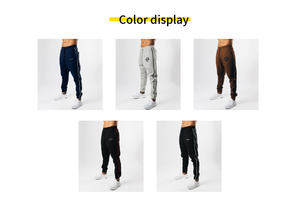 Autumn Trend Fitness Casual Sports Trousers Loose Warm Elastic Running Sports Pants - black red XL