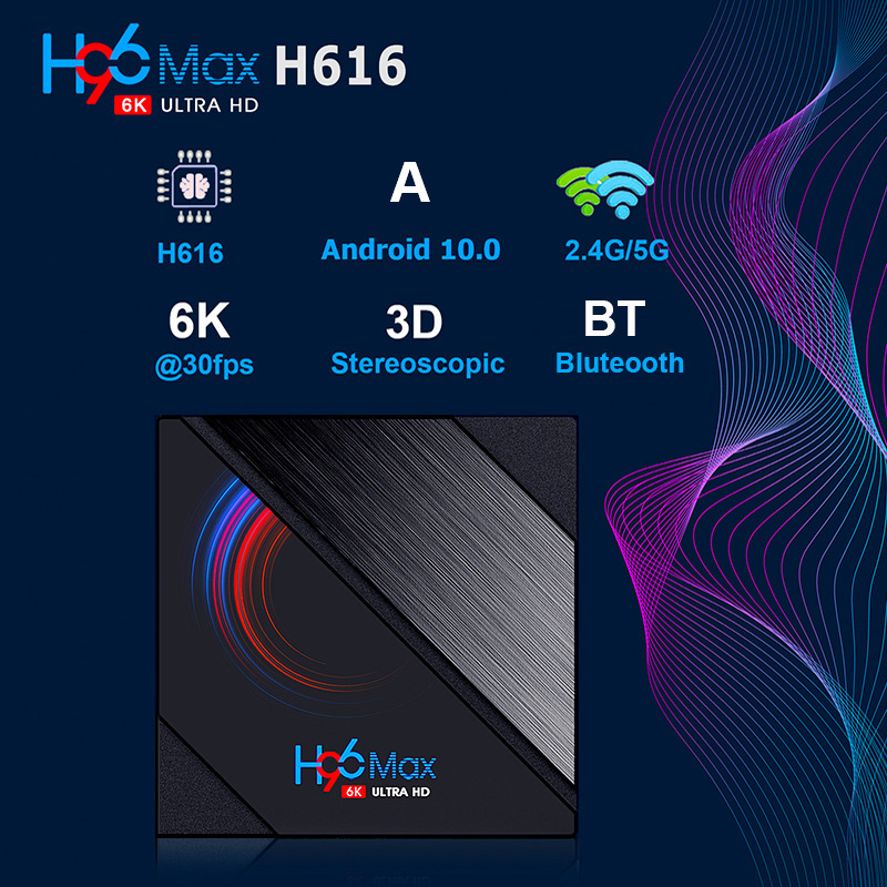 H96Max Android 10.0 Smart TV Box - Black 2+16GB EU Plug
