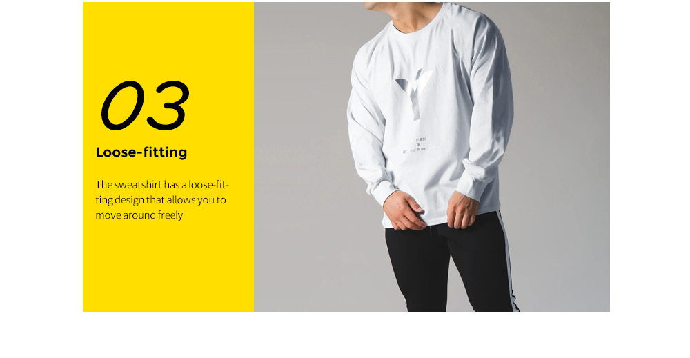 Spring And Autumn Men's Long-sleeved Bottoming Shirt Sports Fitness Men's Casual Korean Version Of The Round Neck Loose - White XXL