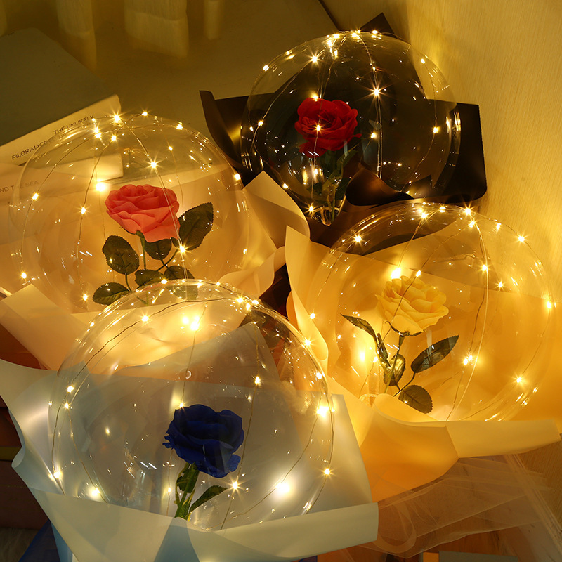 Valentine's Day Hand Bouquet Bobo Ball Bouquet Luminous Balloon Tanabata Confession Bobo Ball Hand-held Rose Flower - Blue
