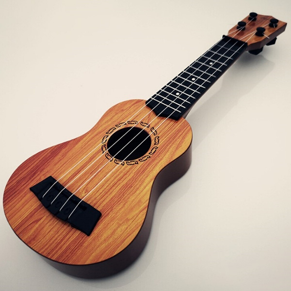Children Small Guitar Toy Playable Simulation Medium Ukulele Beginner Musical Instrument - BurlyWood Natural Wood Color 38cm