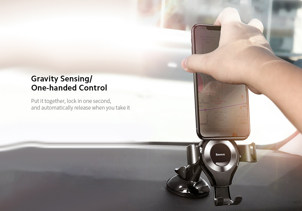 Baseus SUYL-XP01 Car Mobile Phone Bracket Car Suction Cup Gravity Smartphone Multi-function Support Holder - Black  Gravity Sensing/One-handed Control