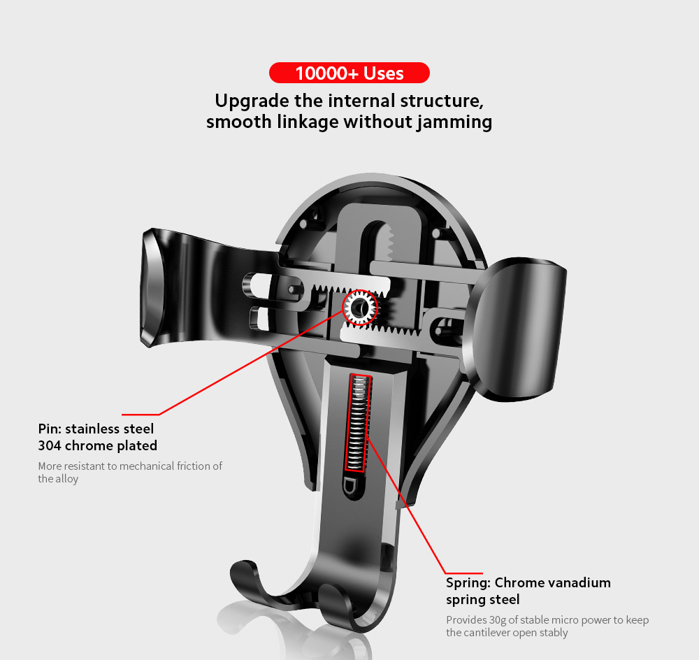 Baseus SUYL-XP01 Car Mobile Phone Bracket Car Suction Cup Gravity Smartphone Multi-function Support Holder - Black 10000+ Uses