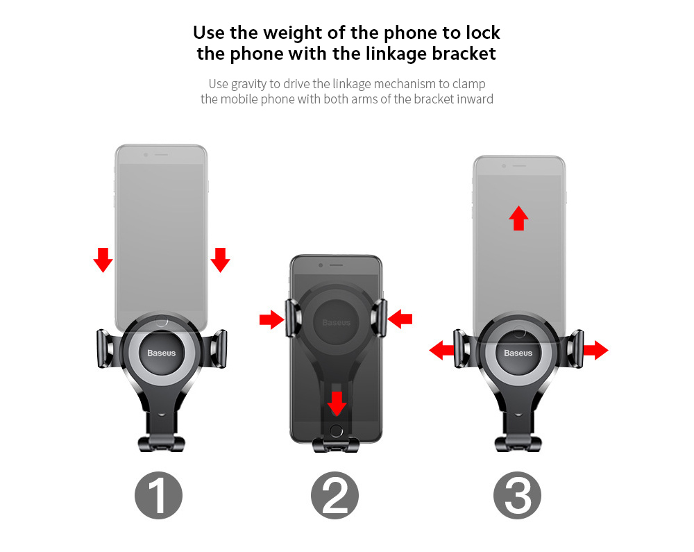 Baseus SUYL-XP01 Car Mobile Phone Bracket Car Suction Cup Gravity Smartphone Multi-function Support Holder - Black Use the weight of the phone to lock the phone with the linkage bracket