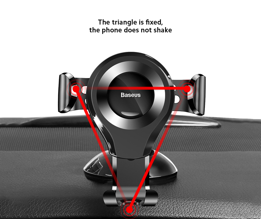 Baseus SUYL-XP01 Car Mobile Phone Bracket Car Suction Cup Gravity Smartphone Multi-function Support Holder - Black The triangle is fixed, the phone does not shake