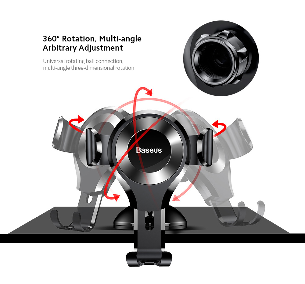 Baseus SUYL-XP01 Car Mobile Phone Bracket Car Suction Cup Gravity Smartphone Multi-function Support Holder - Black 360° Rotation