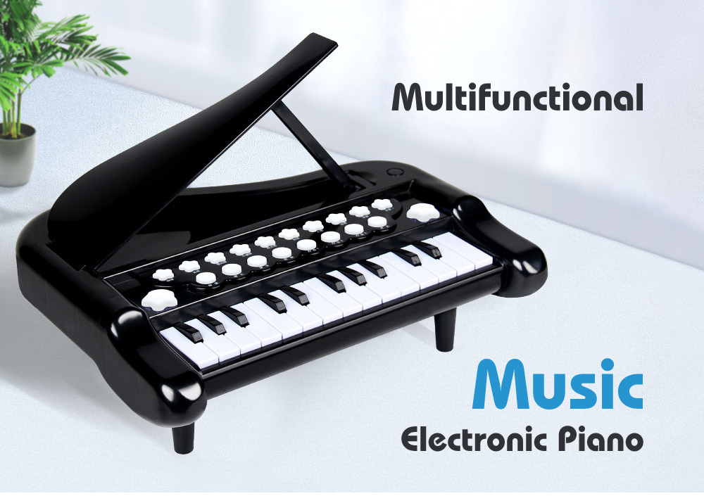 Children Electronic Piano Toy Multi-function Keyboard Musical Instrument Connectable to Mobile Phone with Microphone light-up Story Tripod Piano - Black Basic