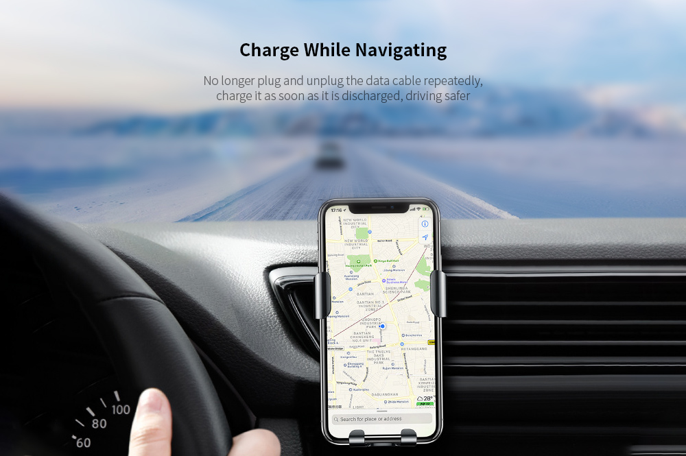 Baseus WXYL-B09 Car Charger Metal Gravity Bracket Wireless Charger Air Outlet - Dark Gray Charge While Navigating