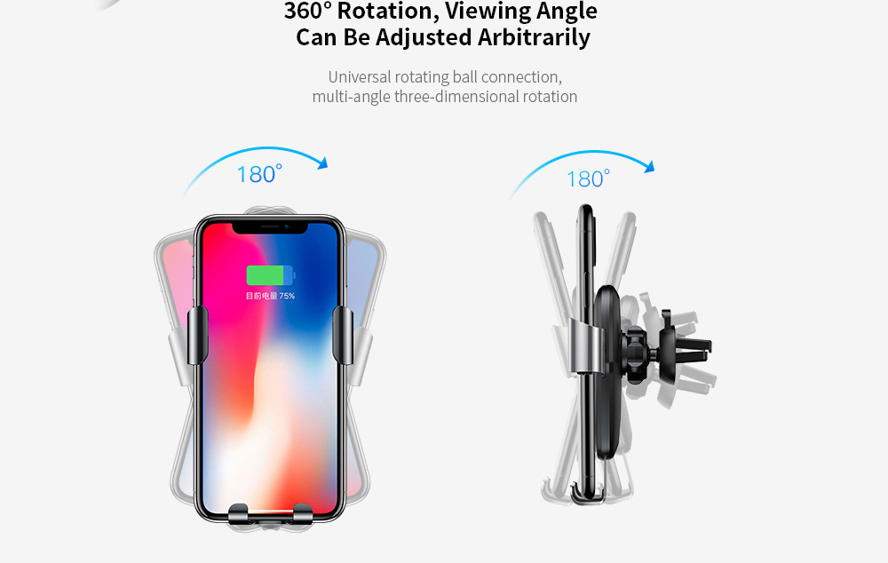 Baseus WXYL-B09 Car Charger Metal Gravity Bracket Wireless Charger Air Outlet - Dark Gray 360° Rotation
