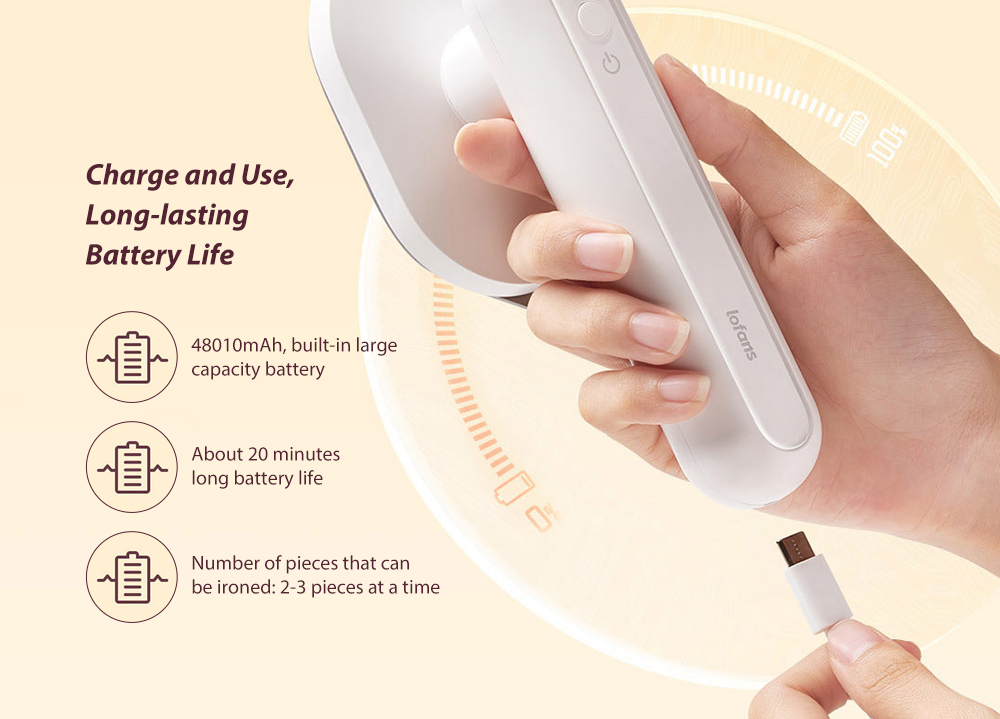 Lofans YD-017 Mini Wireless Electric Iron - White Charge and Use, Long-lasting Battery Life