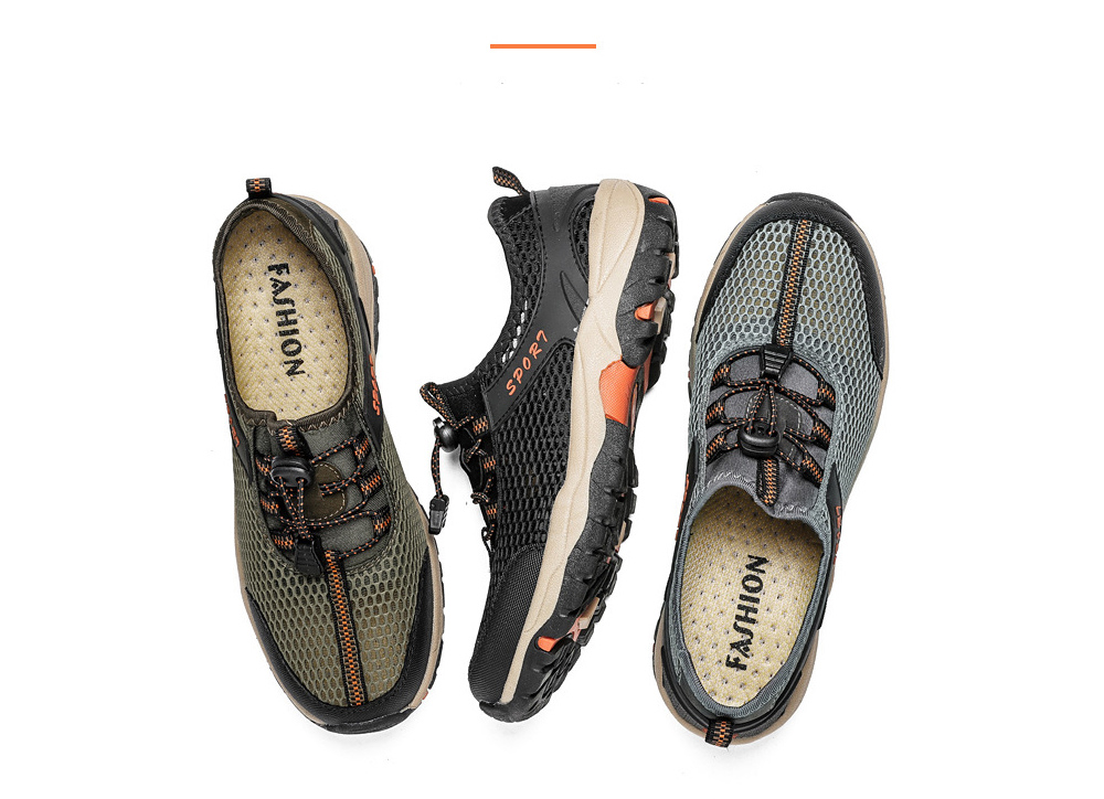 New Outdoor Casual Shoes Five Finger Shoes Large Size Breathable Men Hiking Shoes Non-slip Net Wading Shoes - Black EU 46