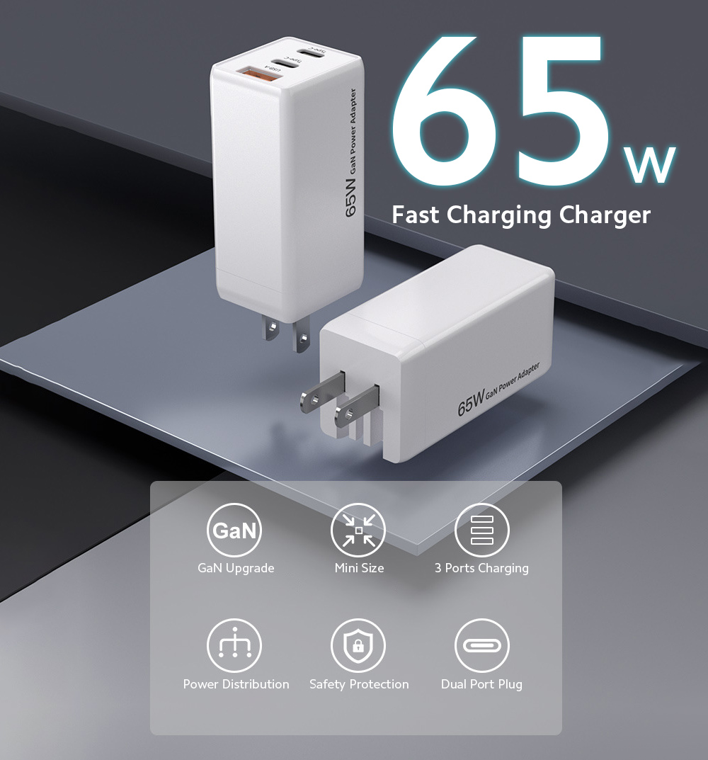 65W Mini Gallium Nitride A + C Double Port PD Power Adapter GaN 65W Computer Plug - White EU Plug
