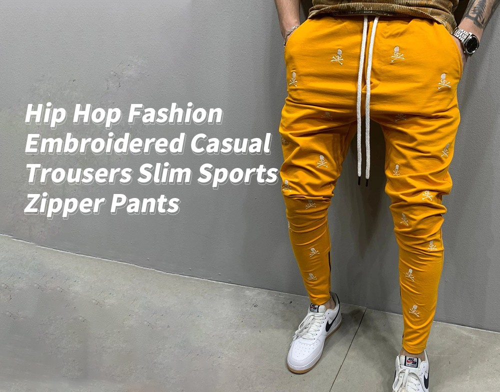 Hip Hop Fashion Embroidery Casual Slim Trend Sports Foot Zipper Trousers
