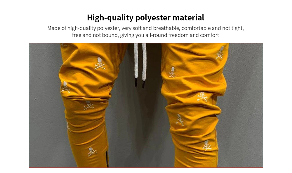 Hip Hop Fashion Embroidery Casual Slim Trend Sports Foot Zipper Trousers material