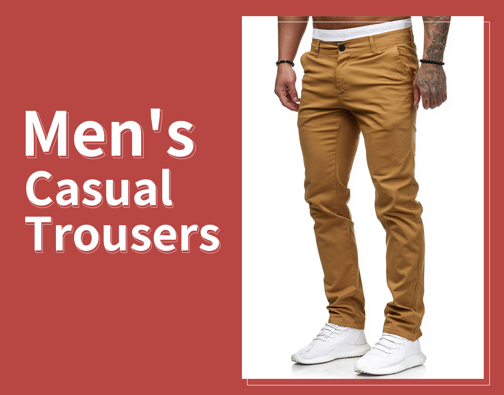 2021 Spring Casual Trousers Men's Solid Color Trousers - Khaki 2XL