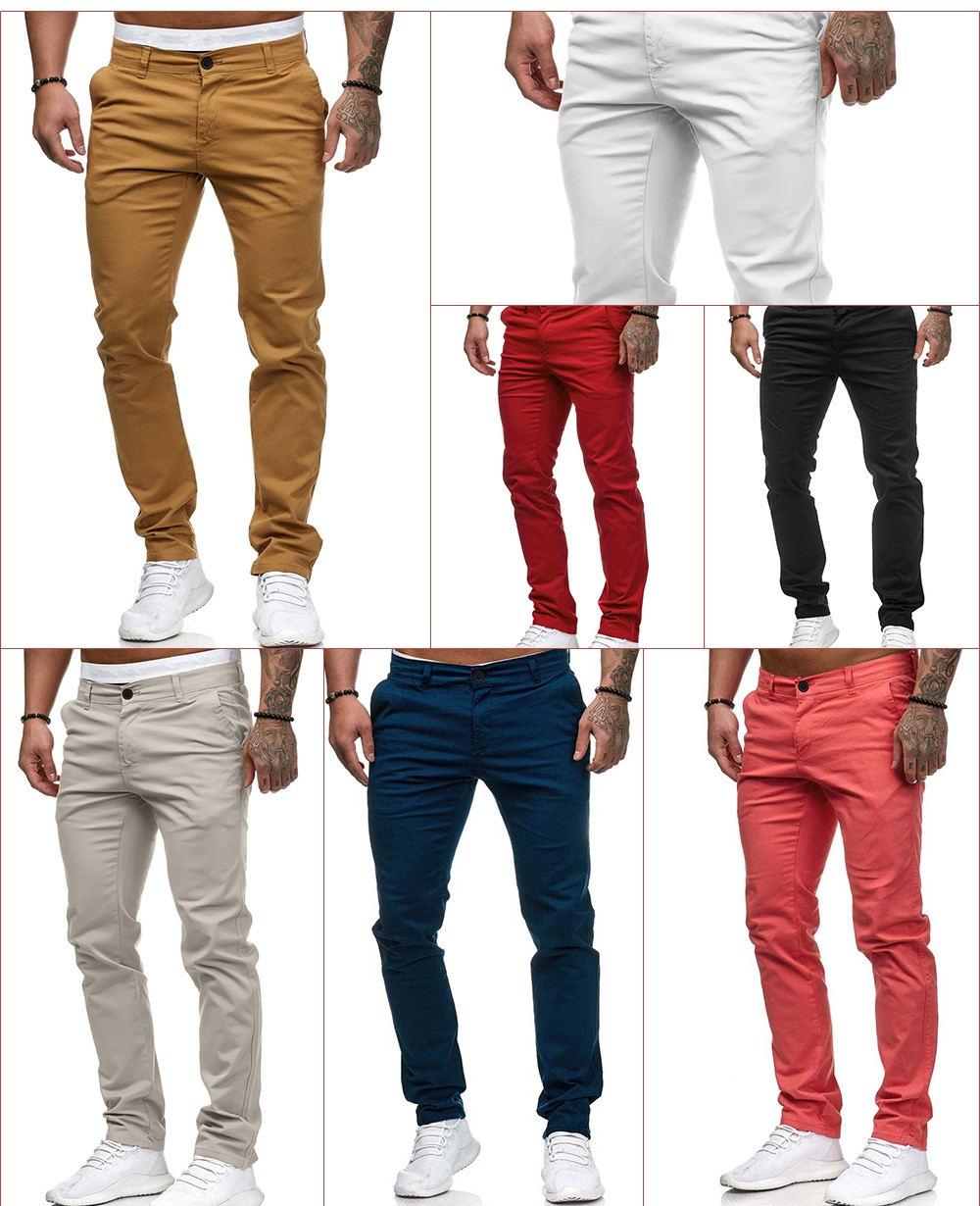 2021 Spring Casual Trousers Men's Solid Color Trousers - Yellow 2XL