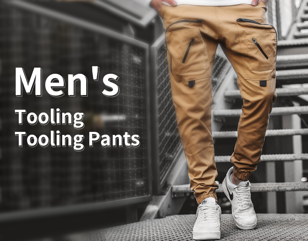 Men's Tooling Trousers Handle Multi-pocket Casual Pants Bundles Tied Rope Small Feet - Gray L