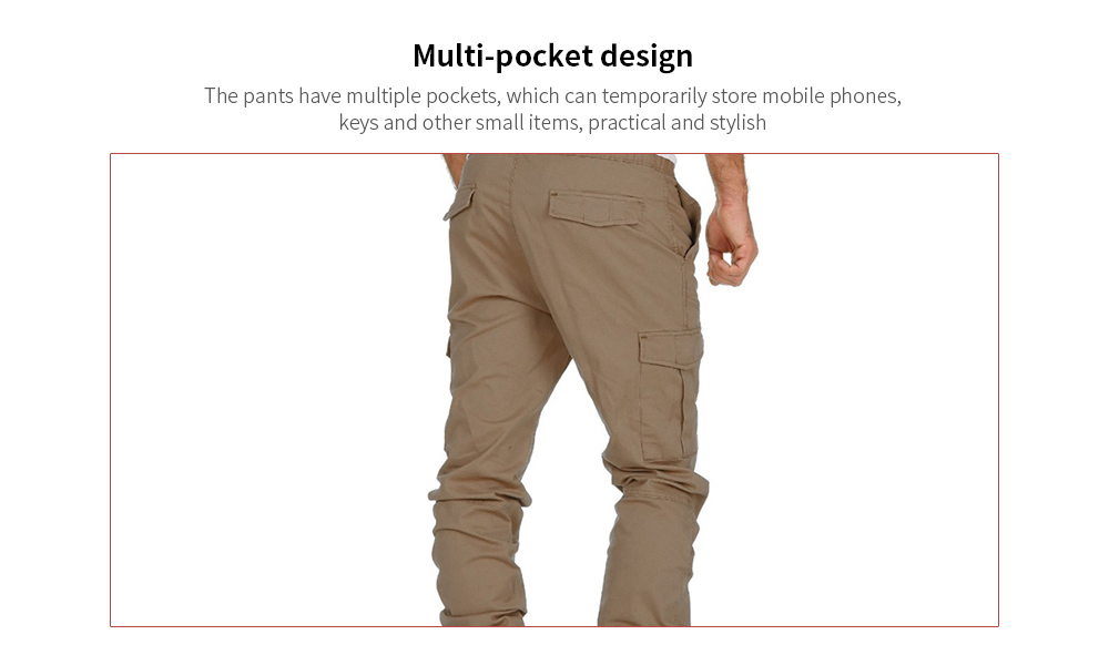 Men's Tooling Multi-pocket Trousers Woven Casual Pants Sports Beam Pants - Tibetan blue M