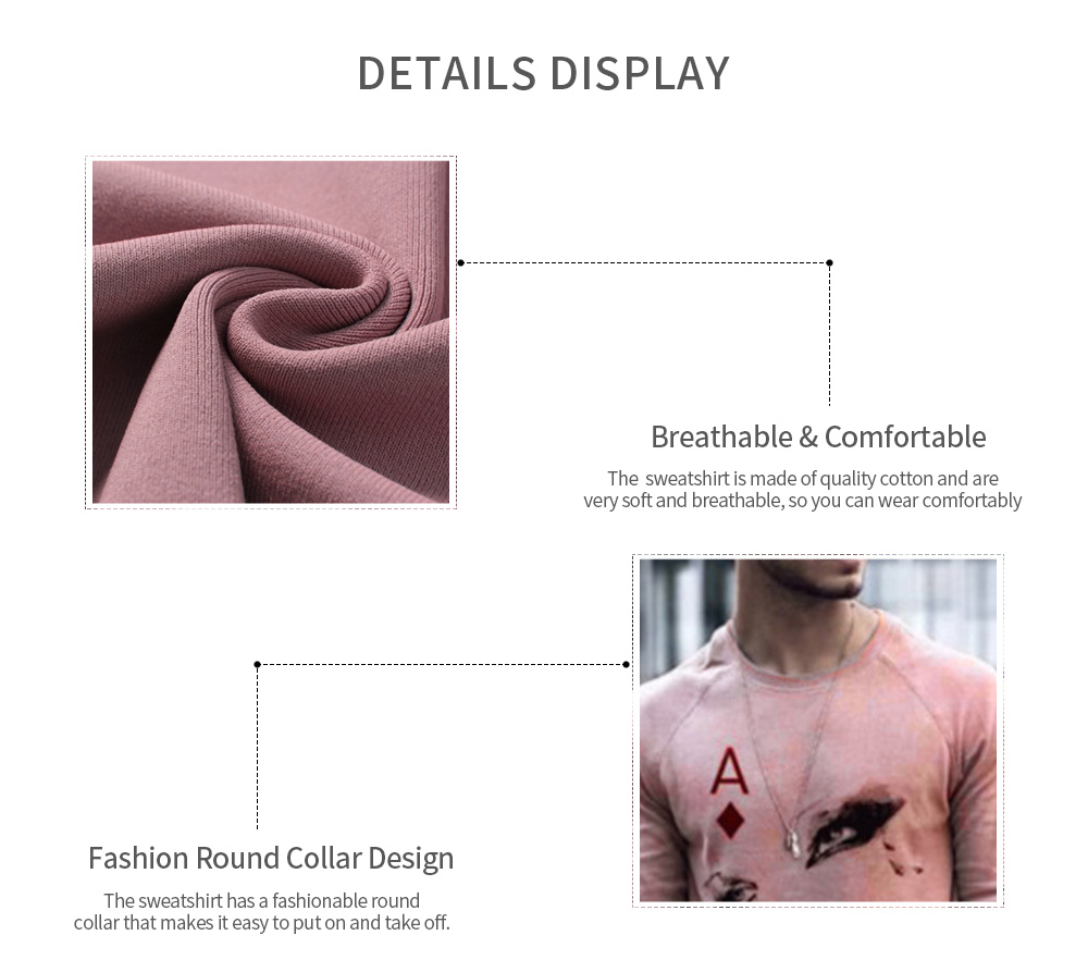 Autumn Men's Head Topped Round Neck Print Trend Long-sleeved T-shirt - Pink XL