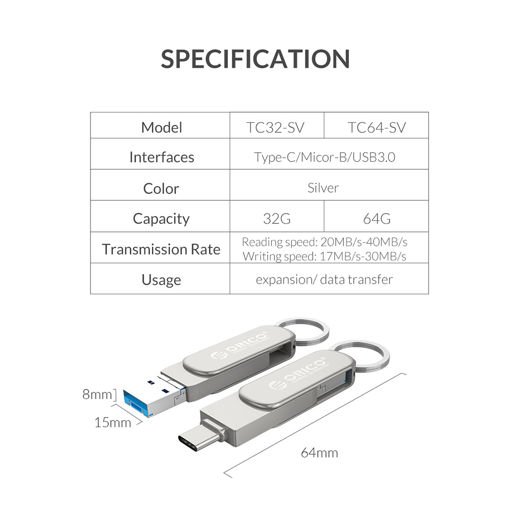 Orico TC32 USB Flash Drive - Silver 32GB