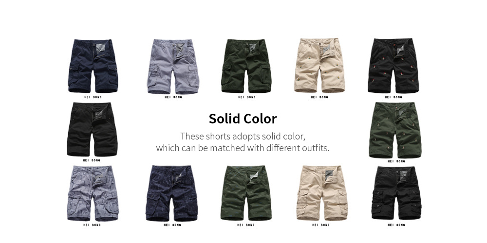 Summer Men's Tooling Shorts Loose Men's Sweatpants Five Pants Multi-bag Casual Pants - Black 36