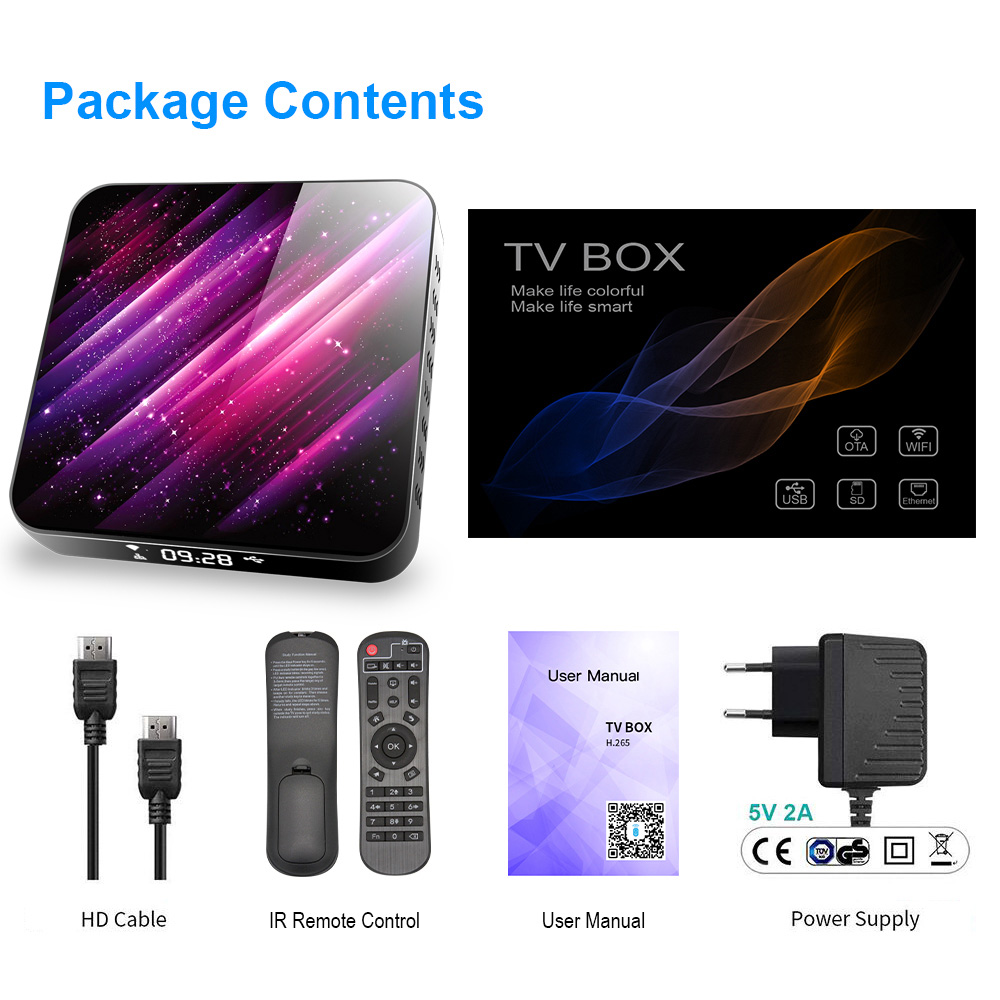 Smart TV Box Android 10.0 Allwinner H616 - Black 2GB+16GB US Plug