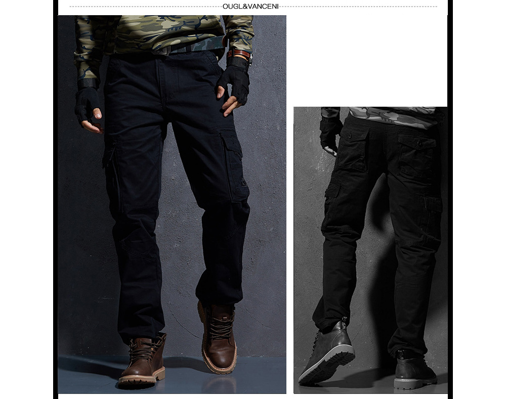 Fashion Men's Casual Trousers Loose Outdoor Pants Military Uniforms Youth Multi-pocket Tooling Pants Male - 381 Brown Army 33