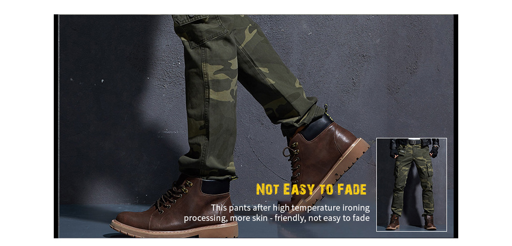 Casual Long Pants Men's Camouflage Worker Pants Slim Small Foot Men's Trousers Casual Pants - 203B Yellow Camouflage twist
