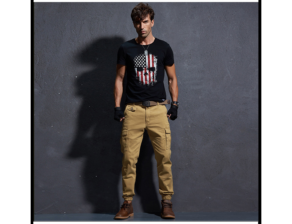 Winter Tooling Pants Medium Waist Micro-foot Casual Pants Teen Slim Pure Color Bunch Foot Trousers Male - Army Green 6908 34