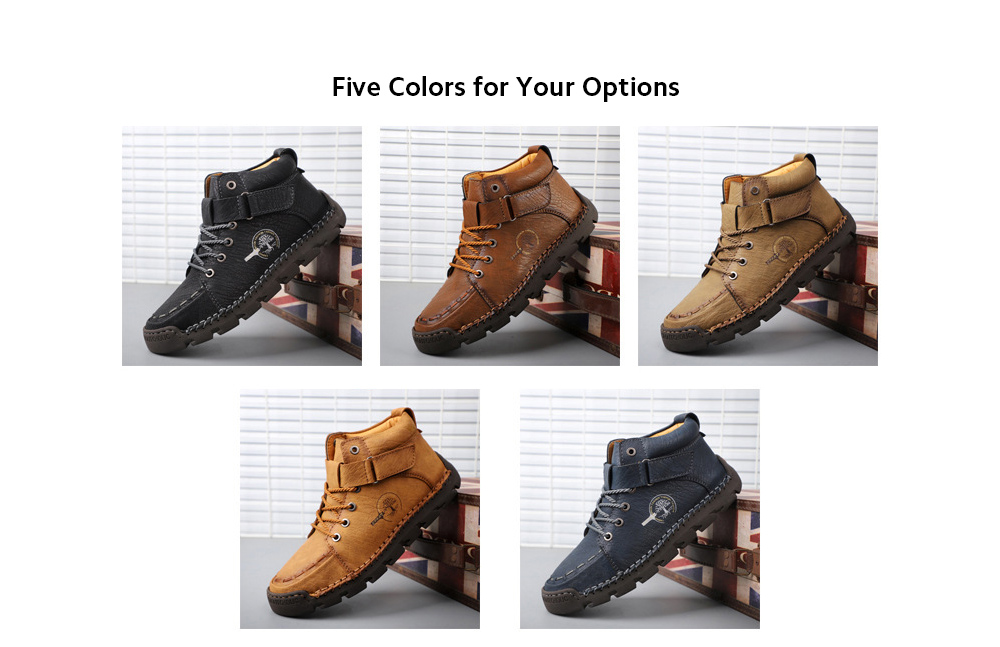 Sewing Casual Men's Shoes Large Size Plus Velvet Magic Stickers Thick Shoes High To Help Casual Shoes - Black 45