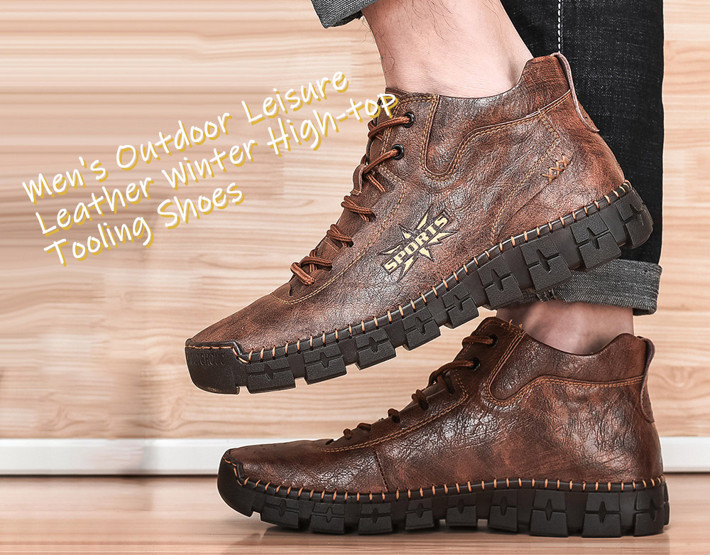 Large Size Boots Men's Outdoor Leisure Leather Winter High-top Tooling Shoes - Red Brown 45