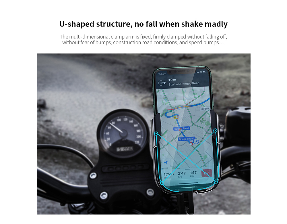 Baseus Armor Motorcycle Bicycle Car Universal Mobile Phone Bracket Multi-function Navigation Mobile Phone Alloy Holder - Silver