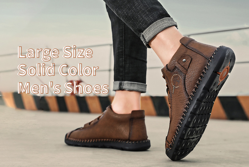 Leather Shoes Male Autumn High-top Men's Shoes Simple Case Line Strap Men's Shoes Large Size Solid Color Men's Shoes - Dark brown 41