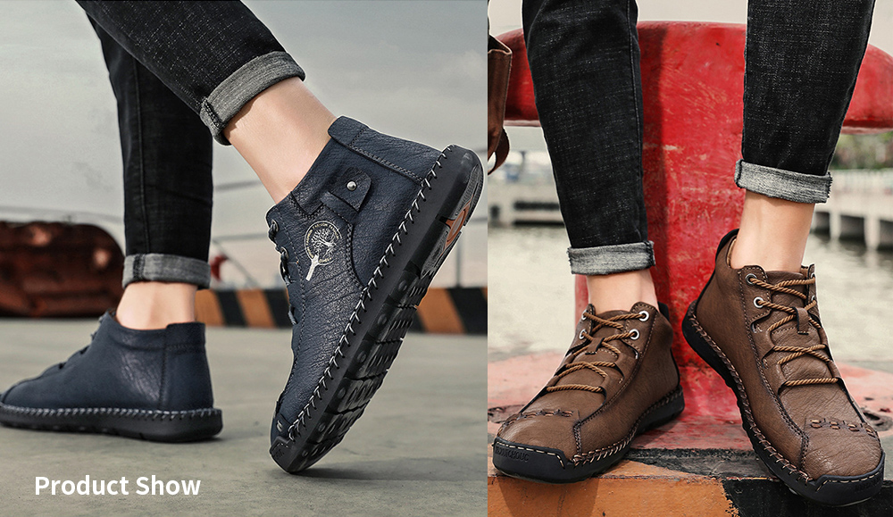 Leather Shoes Male Autumn High-top Men's Shoes Simple Case Line Strap Men's Shoes Large Size Solid Color Men's Shoes - Dark brown 47