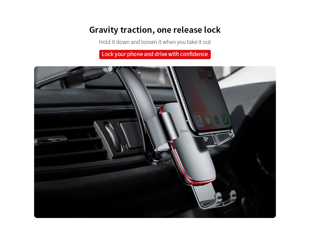 Baseus Universal Car Bracket 4-6 inch iOS Android Phone Metal Age Gravity Car Smartphone Holder (Linked Version) - Gray