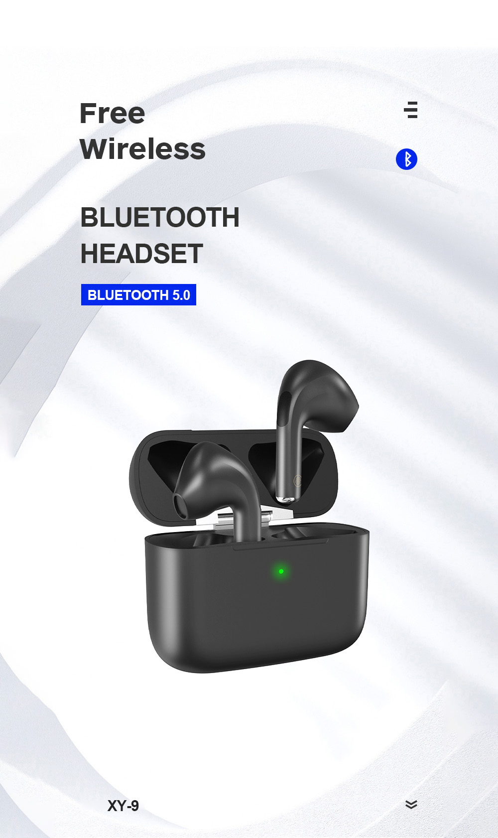 XY-9 Wireless Bluetooth Headphone - Black