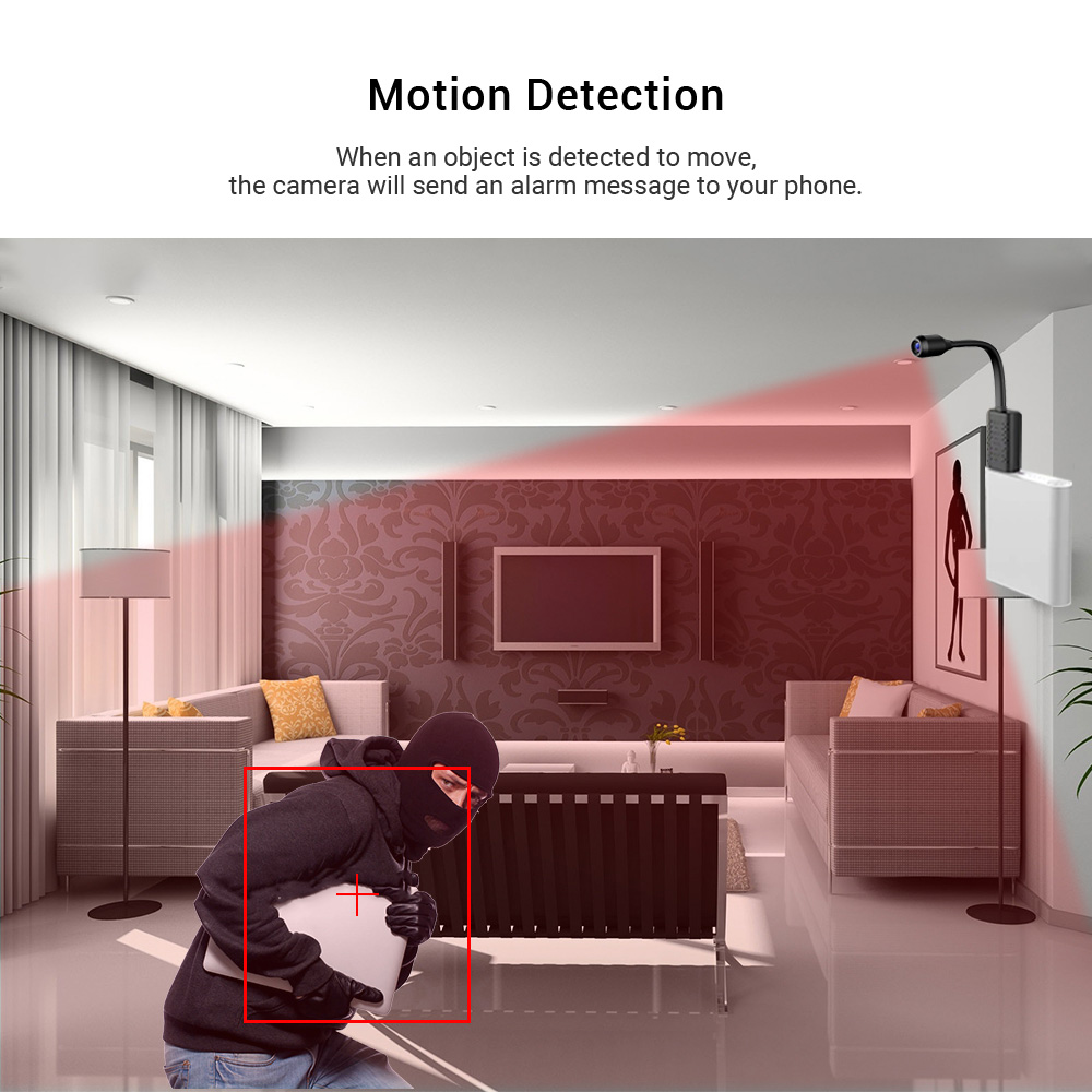 U21 Portable HD 1080P V380 USB WiFi Monitoring Camera Auido Recording Mobile Detection Remote Access Function Camera Monitor - Black Direct recording DV