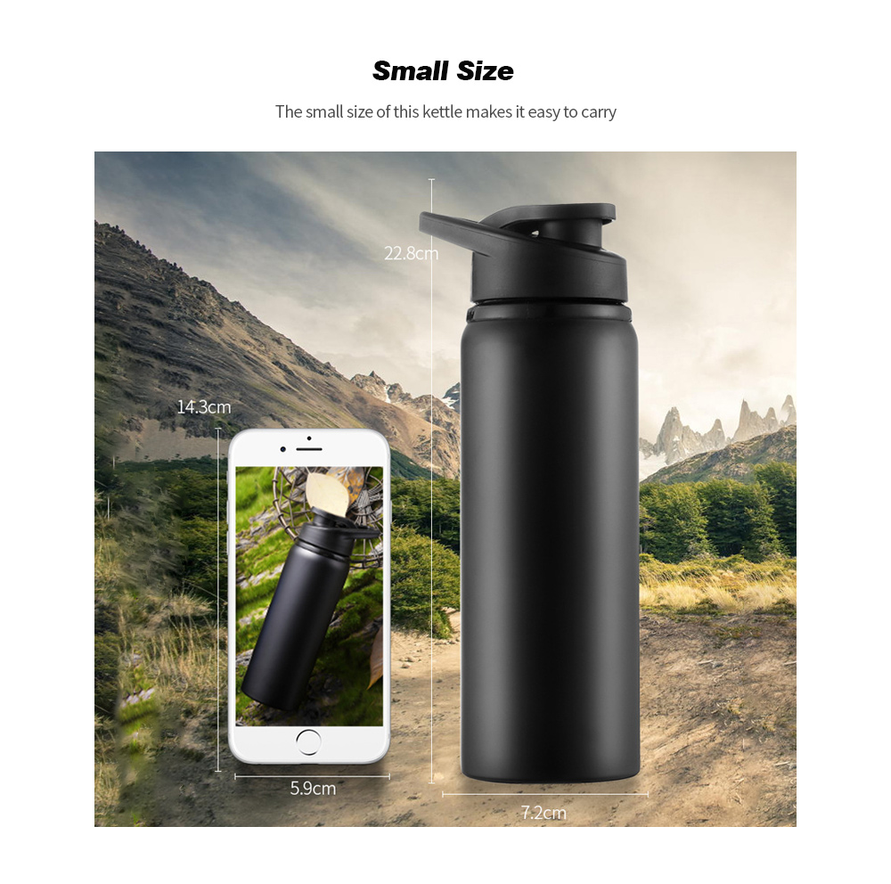 Stainless Steel Sports Kettle Straight Drink Bicycle Water Bottle Outdoor Cycling Bottle - Red