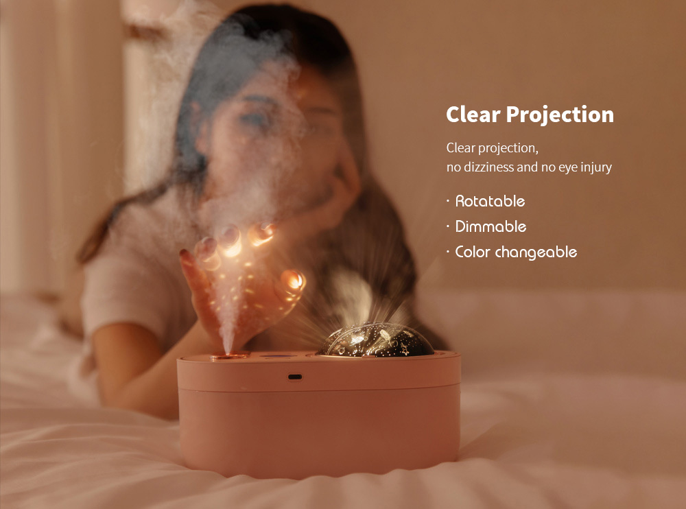 Double Spray Projection Light Humidifier USB Starry Star Projector Rotating Night Light Nano Sprayer - White