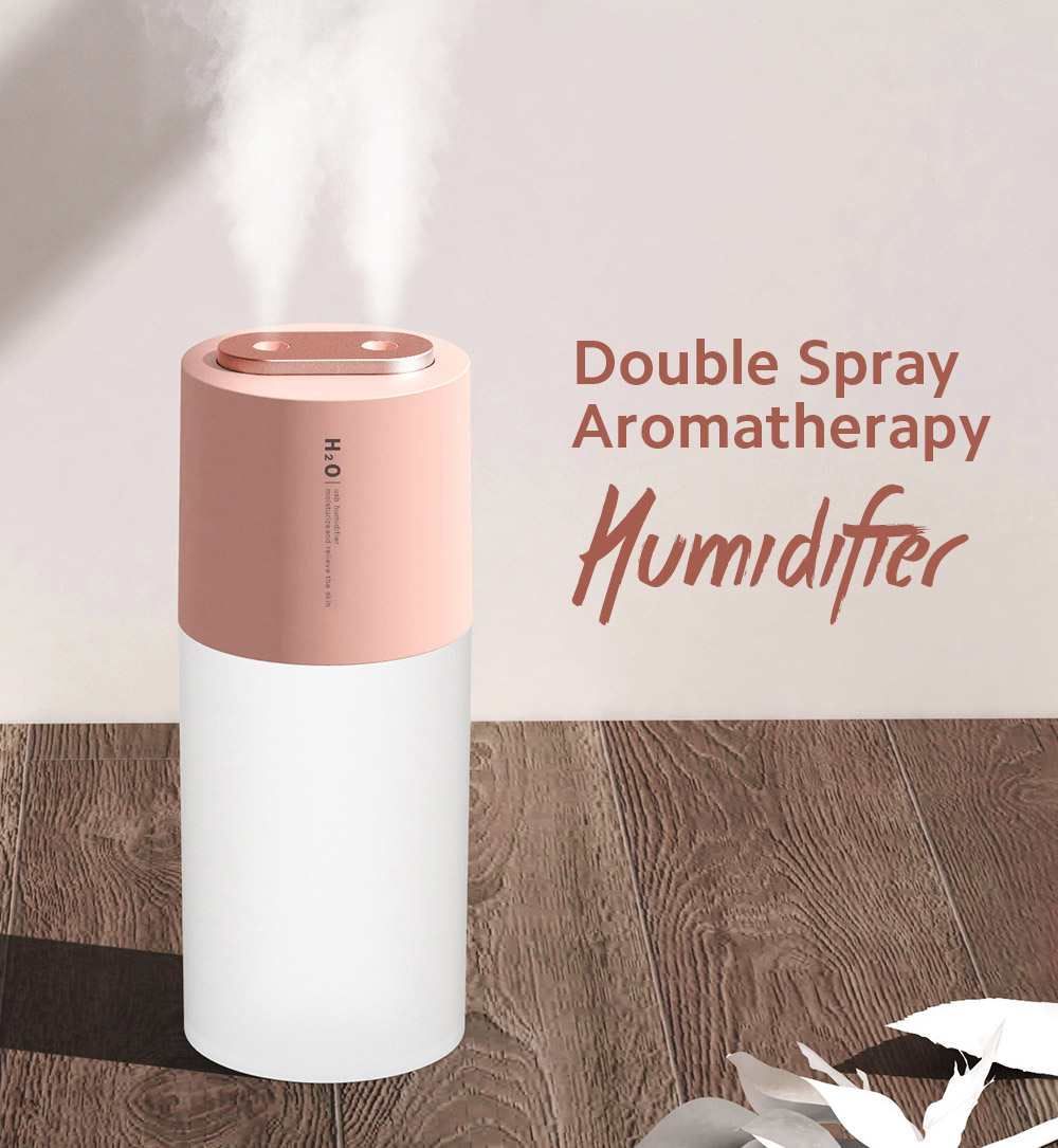 Double Spray Aromatherapy Humidifier Big Fog Desktop Car Air Humidification Hydrating - Pink