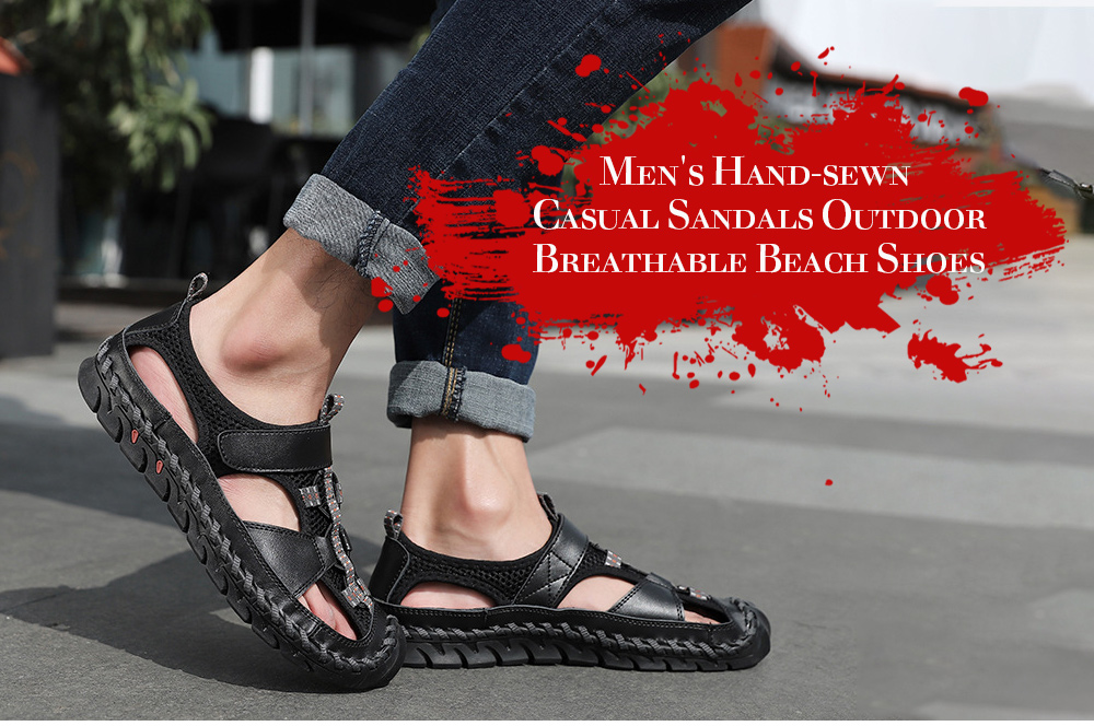 Men's Sandals Hand-sewing Casual Shoes Outdoor Breathable Large Size Beach Shoes - Black 45