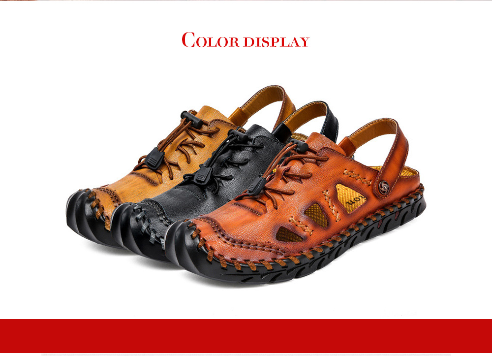 Large Size Men's Leather Sandals Handwear Shoes - Red Brown 48
