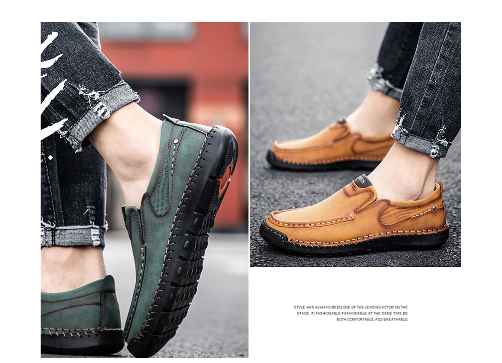 Men's Casual Fashion Hand-stitched Sole Large Size Shoes - 9966 Green 41