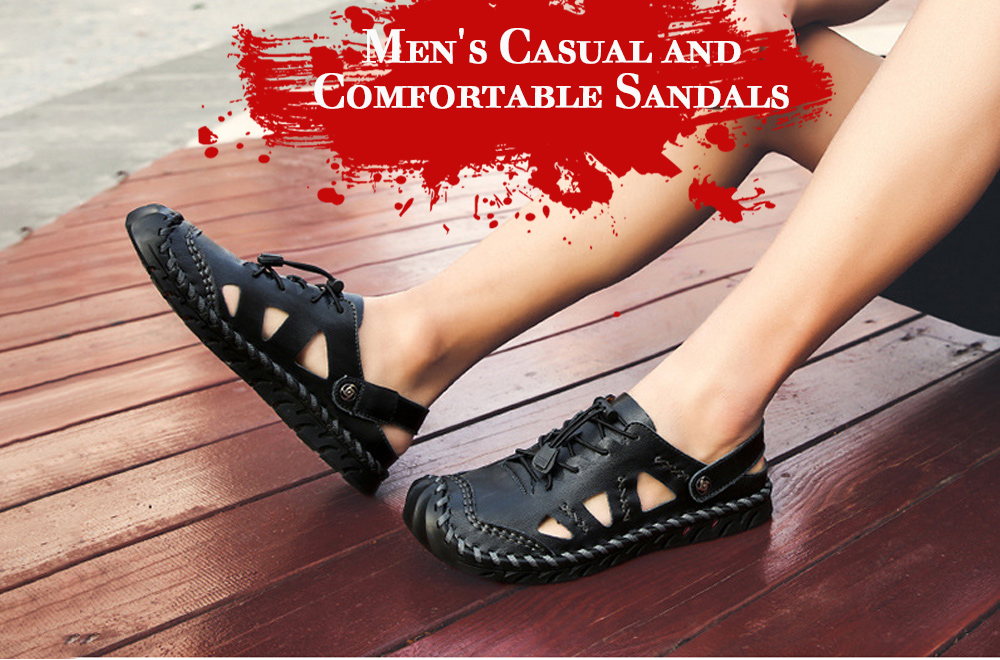 Large Size Men's Shoes Leather Sandals Handwear Shoes - Black 40