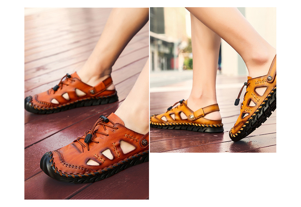 Large Size Men's Shoes Leather Sandals Handwear Shoes - Red Brown 39