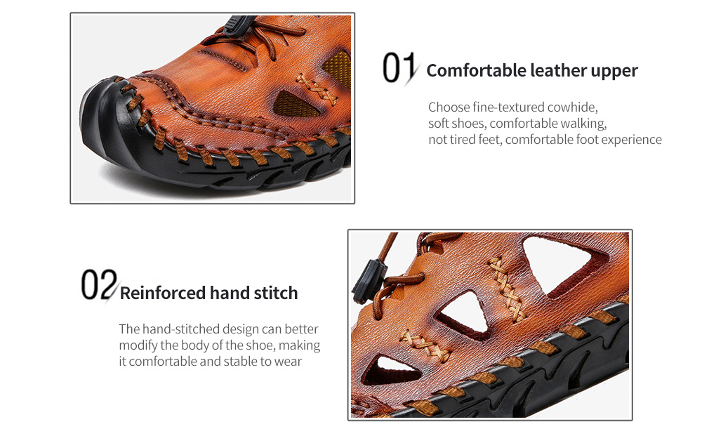 Large Size Men's Shoes Leather Sandals Handwear Shoes - yellow Brown 39