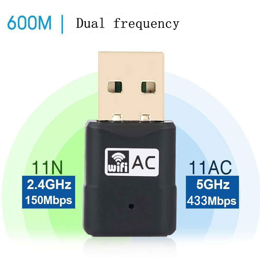 AC600M Dual Frequency USB Wireless Network Card - Black