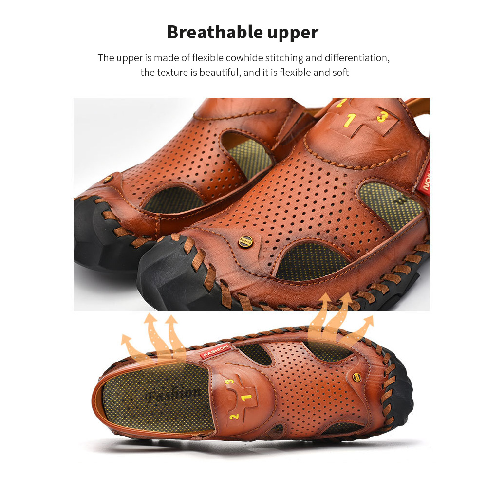 Men's Sandals Male Summer Leather Hole Shoes Large Size Beach Shoes - Brown 45